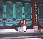 Manda and Katherine at a Buddist Temple in Tacoma Washington in 1995. (original Manda Baldwin)