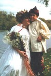 Manda and Michael on Russ and Manda's wedding day at the Izaak Walton in Red Wing October 1998. (original Manda Baldwin)
