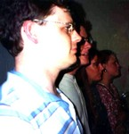 Bob, John, Manda, and Katherine in  a photo to show our noses. July 8, 1994. (original Manda Baldwin)