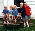 Elise Anway, Clara and Carleen Wolford, Drew Anway, and Michael Hart. Summer of 1997 (original Manda Baldwin)