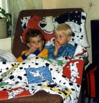 Michael and Drew Anway in 1993 at the little house. (original Manda Baldwin)
