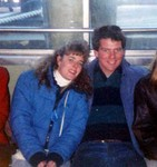 Manda and Michael Salvador on the ferry to Ellis Island in New York City in 1988. (original Manda Baldwin)