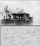 Francis Bundy family in front of their home, early 1920's. Click twice to see details. Caption on back indicates, left to right: Esther, Ruth, June, Beulah, William, Lucy, Florence, Francis. (Original: Janet Lucius)