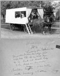 Francis Bundy in the wagon he built to transport his family to Colorado, in an effort to cure Bertha of tuberculosis. Left to right: Ada, Bertha (Segar) Bundy, Esther Bundy, Lindsay Bundy, Francis Bundy (William's notes identify Ada as a sister of Bertha; however, other references indicate Ada was Bertha's niece by Bertha's sister Ida). William Bundy's biographical notes indicate Ada accompanied them for part of the way, and then returned. Mary Hundeby remembers her grandmother Lucy saying that Ada accompanied the Bundys all the way to Colorado, but returned after some sort of falling out. (Original: Janet Lucius)