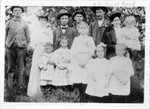 Francis and Lucy are in the top right. Other people in this picture are seen in other Bundy group photographs as well. Perhaps this was at the wedding of Armine Hostettler and Goldie Russell (16 Sep 1912), and they are the couple second and third from left. Esther, Ruth, and Marion are in front of Francis and Lucy. (Original: Janet Lucius)