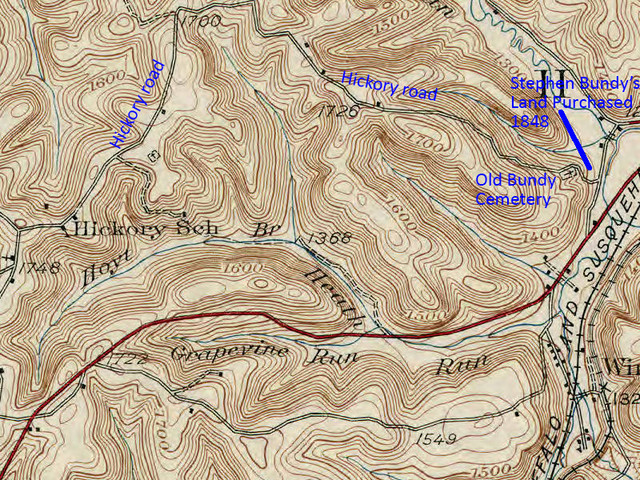 Jennie Smith Dixon's book, The Hills of Home, describes the settlement of Hickory Kingdom, where the John I. Bundy family settled around 1830. This topographic map shows the location of Hickory School and two runs (Hoyt and Heath) named after early settlers of Hickory Kingdom, and Hickory Road is marked on this map according to modern maps. Following Hickory Road north and around to the east, comparison with the next two maps shows that the land owned by Stephen Bundy was on the right edge of this map where Hickory Road makes an S-shape just before a Y-intersection. The cemetery shown in the S-shape on this map is the Old Bundy Cemetery where Stephen and Lucinda are buried.