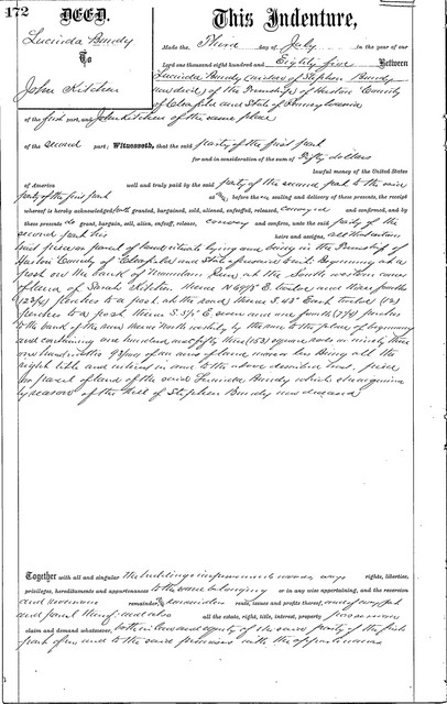 On 3 July 1885, Lucinda Bundy, widow of the Stephen Bundy now deceased, sold the land she had gained by his will to John Kitchen.