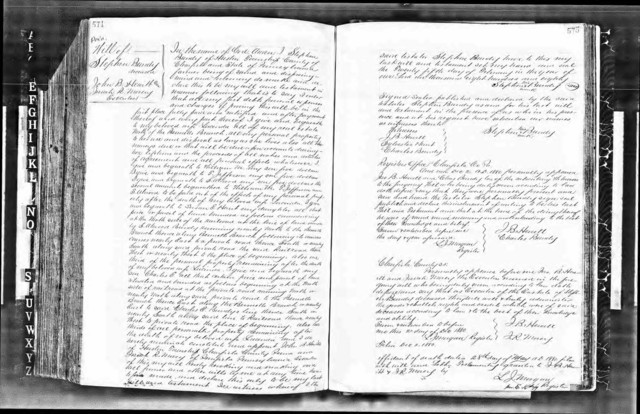 """Will of Stephen Bundy """"of Huston Township,"""" Clearfield County, Pennsylvania. Since his will mentions someone who is """"of Penfield,"""" but he calls himself """"of Huston township,"""" we can conclude he was still living on his farm outside of Penfield when he wrote his will. Written 25 February 1880, proved 2 December 1880 by [his brother-in-law] J.[ohn] B. Hewitt, [his son-in-law] Sylvester Hunt and [his son] Charles Bundy (witnesses) and executors J.[ohn] B. Hewitt and Isaiah Macy. Names beloved wife Lucinda and sons William M., T.[homas] Jefferson, S.[tephen] Atwood, and Charles E.[benezer]. Names daughter Susan E. Hunt. Mentions his property near Bennett Branch. (Original: Clearfield County Will Book B:574-575; this copy from ancestry.com)"""