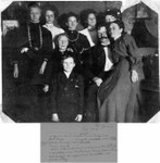 Identification from the notes on the back. Back row, l to r: Savilla (Bundy) Russell, Goldie (Russell) Hostettler, Alice Cater (2nd cousin of Francis Bundy), Bessie Russell, Lucy (Whaley) Bundy.  Sitting down on the left is Nancy (Hevener) Bundy (Thomas Jefferson Bundy's wife).  The couple in front to the right are family friends Will Labbit and his wife.  The boy in front is the son of Will Labbitt.  February, 1908. (Original: Mary Hundeby)