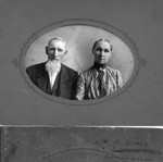 "William Bundy and Emeline Hevener. The caption on the back, barely legible, says ""Mrs. G.H. Russell"", probably indicating the original was owned at one time by Savilla Bundy, William's daughter, who married George H. Russell. (Original: Janet Lucius)"