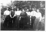 """Picture taken at the same event as the previous picture.  Left to right: Lucy (Whaley) Bundy, Joseph """"Boney"""" Jerry, Josey (Whaley) Jerry, Rose (Whaley) Harrison, Elmer Carlon, Francis Bundy, Martha (Whaley) Carlon. (Original: Janet Lucius)"""