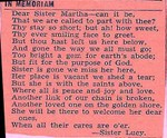 Poem written by Lucy Whaley Bundy in memory of her sister Martha. (Original: Phyllis Diercks Jackson)