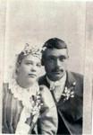 Wedding picture of Alex LaBathe and Marie Winberg, 2 Sep 1893, Langdon, MN.  (Original: Alice Robinson)