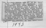 """Obituary for Sofia Maria """"Marie"""" (Winberg) LaBathe, from one of Bob Winberg's Navy scrapbooks.  The son, Edward, married Ida Mavis.  The sister, Mrs. Oliver LaBathe, is Freda Winberg, and Oliver is the brother of Marie's husband Alex.  The sister, Hilda Frederickson, is Hilda Olivia Winberg, who remained in Sweden.  The brother, Charles Winberg, is Karl Fritzhof """"Charles"""" Winberg, father of Bob Winberg.  (Original: Bob Hart, from Bob Winberg's USS Wainwright scrapbook)"""