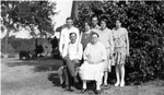 Oliver LaBathe family members, taken at Freda's birthday party around 1927.  Back Row, l to r: Clarence, Freda, Art, Lydia, Anne.  Front: Oliver and Freda.  (Original: Alice Robinson)