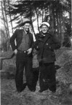 "This picture and the previous one were taken at the same time, judging by Bob Winberg's clothes.  One has ""Two Bobs"" on the back.  The other has ""Me and Carl Boyling, Aunty's step-son"".  These people would be Robert Olson, son of Bob Winberg's Aunt Mary (married first to Charley Olson, then to Eric Bjorling), and Carl Bjorling, a son of her second husband by a previous marriage. Probably 1934. Bob Winberg pulled into Bremerton, WA on the USS Maryland that year, and the Bjorlings were living in Everett, WA in 1930. (Original: Mary Hundeby)"