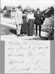 Thomas Oline and his wife Emily (Mattson) Oline on the right, and their daughter Myrtle with her husband Hans. The picture was probably taken in Washington State. Census information shows the Olines had a daughter Myrtle who married one Hans Jensen. (Original: Mary Hundeby)