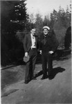 """This picture and the next one were taken at the same time, judging by Bob's clothes.  One has """"Two Bobs"""" on the back.  The other has """"Me and Carl Boyling, Aunty's step-son"""".  These people would be Robert Olson, son of Bob's Aunt Mary (maiden name Mattson, married first to an Olson, then to a Bjorling), and Carl Bjorling, a son of her second husband by a previous marriage. Probably 1934. Bob pulled into Bremerton, WA on the USS Maryland that year, and the Bjorlings were living in Everett, WA in 1930."""