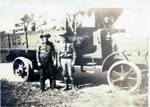 """Looks like Bob on the left, unknown on the right, appears to be a U.S. Army truck.  Back of photo stamped """"Paramount Photo Shop, La Crosse, Wisonsin."""" Probably from his time working in the Civilian Conservation Corps. (Original: Bob Hart, from Bob Winberg's Photo Album)"""