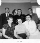 February 1955, at Raymond Winberg's house in St. Paul Park for Charles and Clara's 50th wedding anniversary.  Back Row: Raymond, Bob, and Claus.  Front: Edith, Anna, and Esther. (Original: Mary Hundeby)