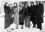 June Bundy, Beaulah Bundy, Marion Bundy, Ruth Bundy, unknown, and couple on end are possibly Gert and Carl Fritzke (friends of Bob and June's from Saint Paul Park), early to mid 1930's.  (Original: Bob Hart, from Bob Winberg's photo album, ID by Mary Hundeby)